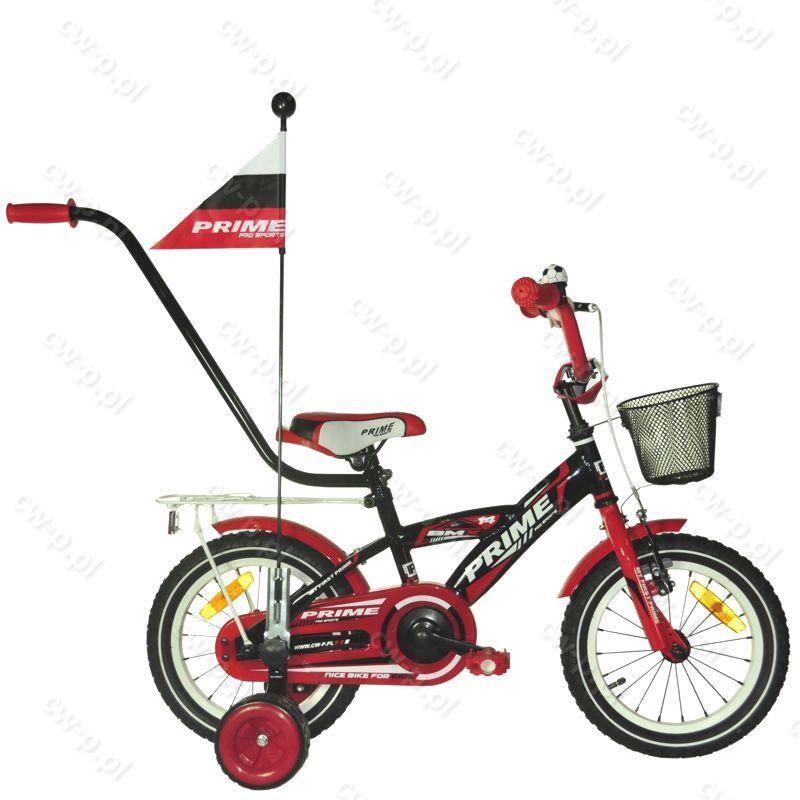 Ogromnie Rower dziecięcy 14 cali PRIME Boy PRO SPORTS Red + prowadnik ZC84