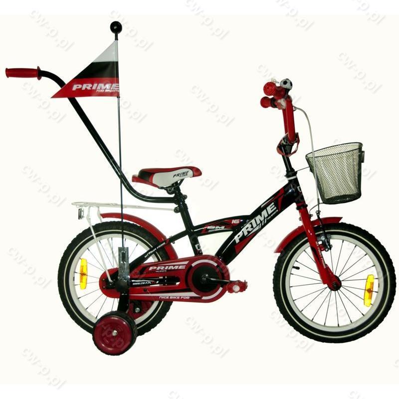 Topnotch Rower dziecięcy 16 cali PRIME Boy PRO SPORTS Red + prowadnik CG47